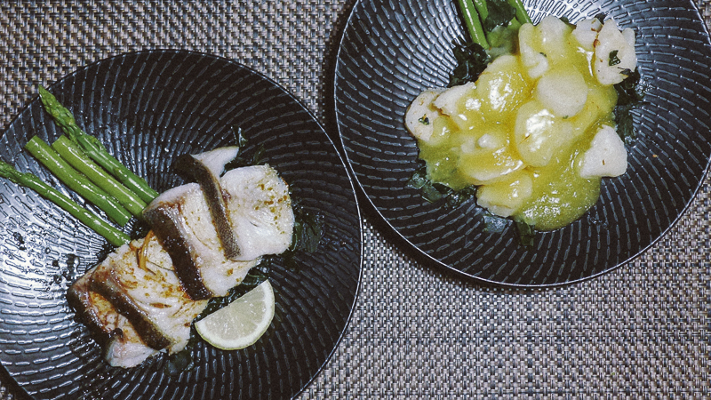 gindara and U.S. scallop tamago sauce